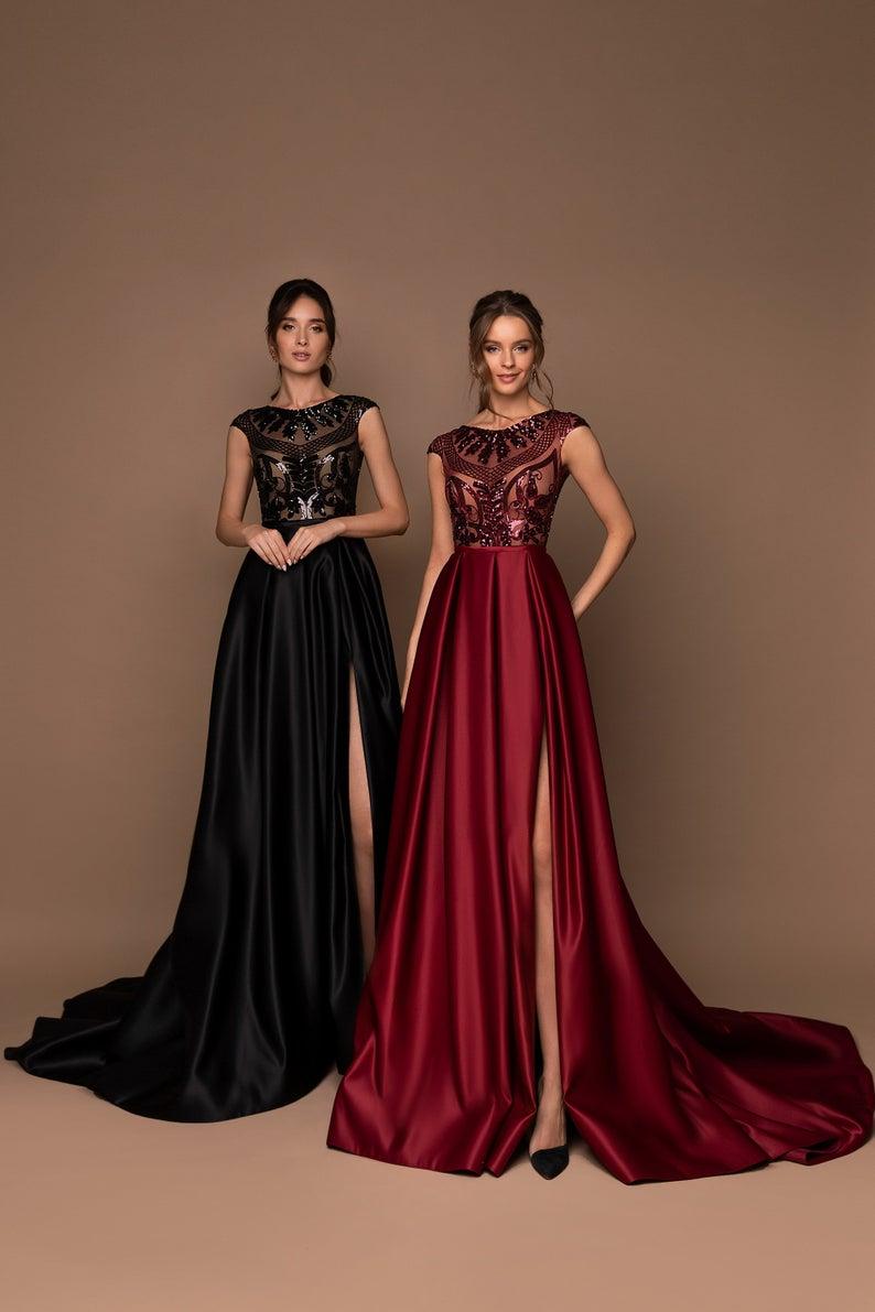 A-Line Prom Dress, Evening Dress, Elegant Gown, Sa