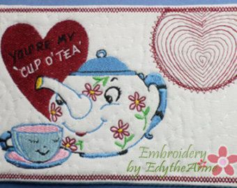 VINTAGE TEA POT In The Hoop Embroidered Mug Mat. You are my cup of tea