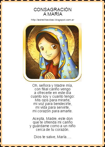 ♥Consagración a la Virgen María | Oraciones para niños, Oraciones  catolicas, Oraciones