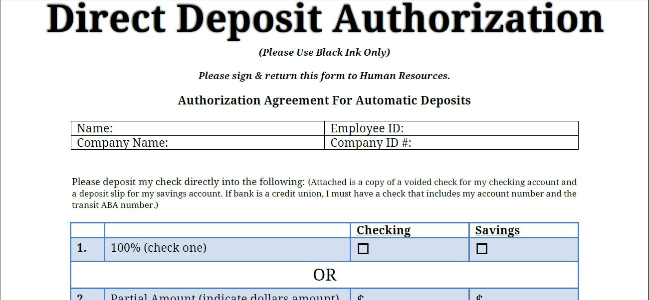 Printable PDF Direct Deposit Authorization Form Printable - auto contract template