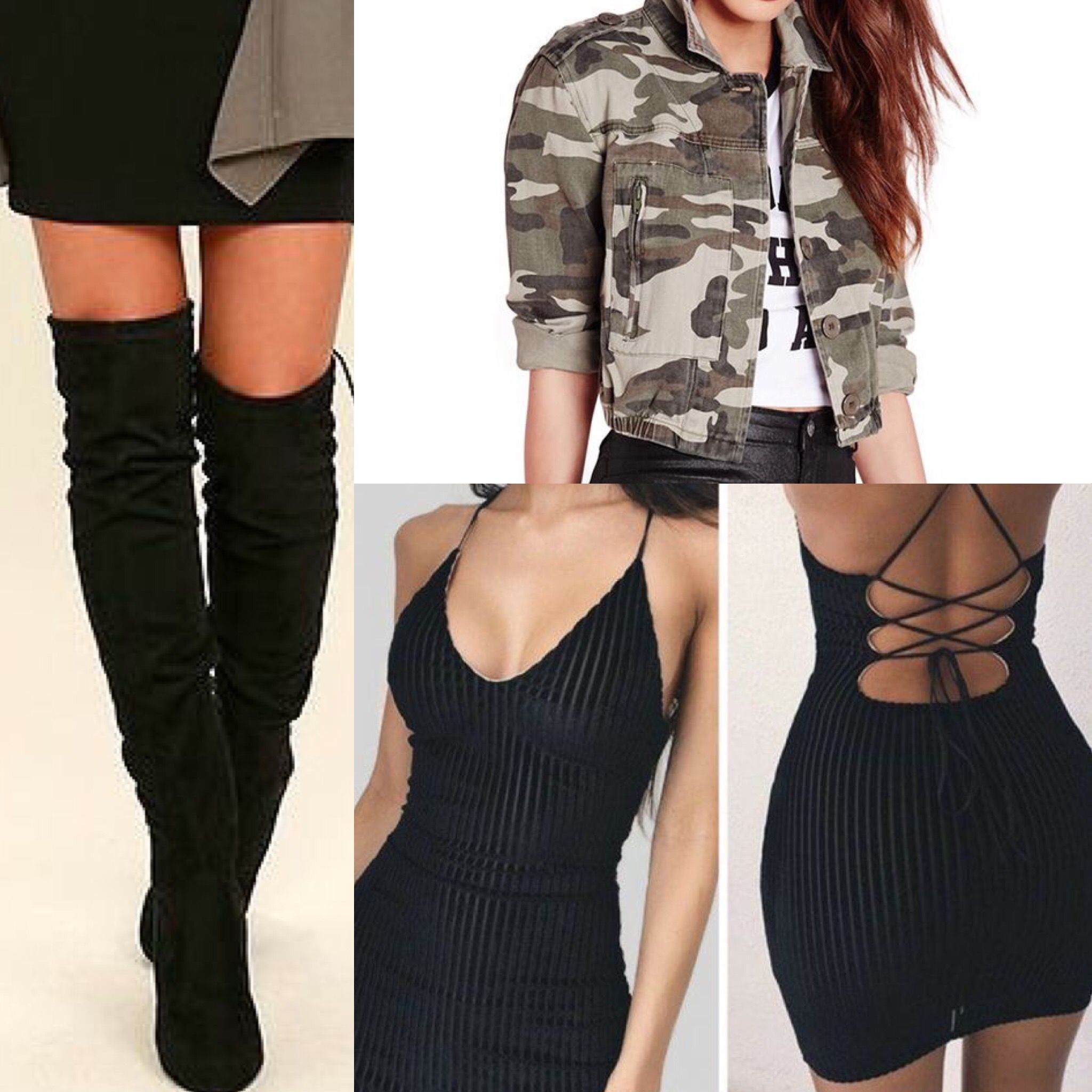 Black fitted dress cropped army jacket and knee high