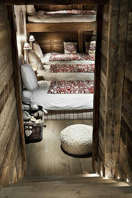 """Awesome bunk room, they don't always have to be """"stacked"""".  Easier to change bedding this way :)"""