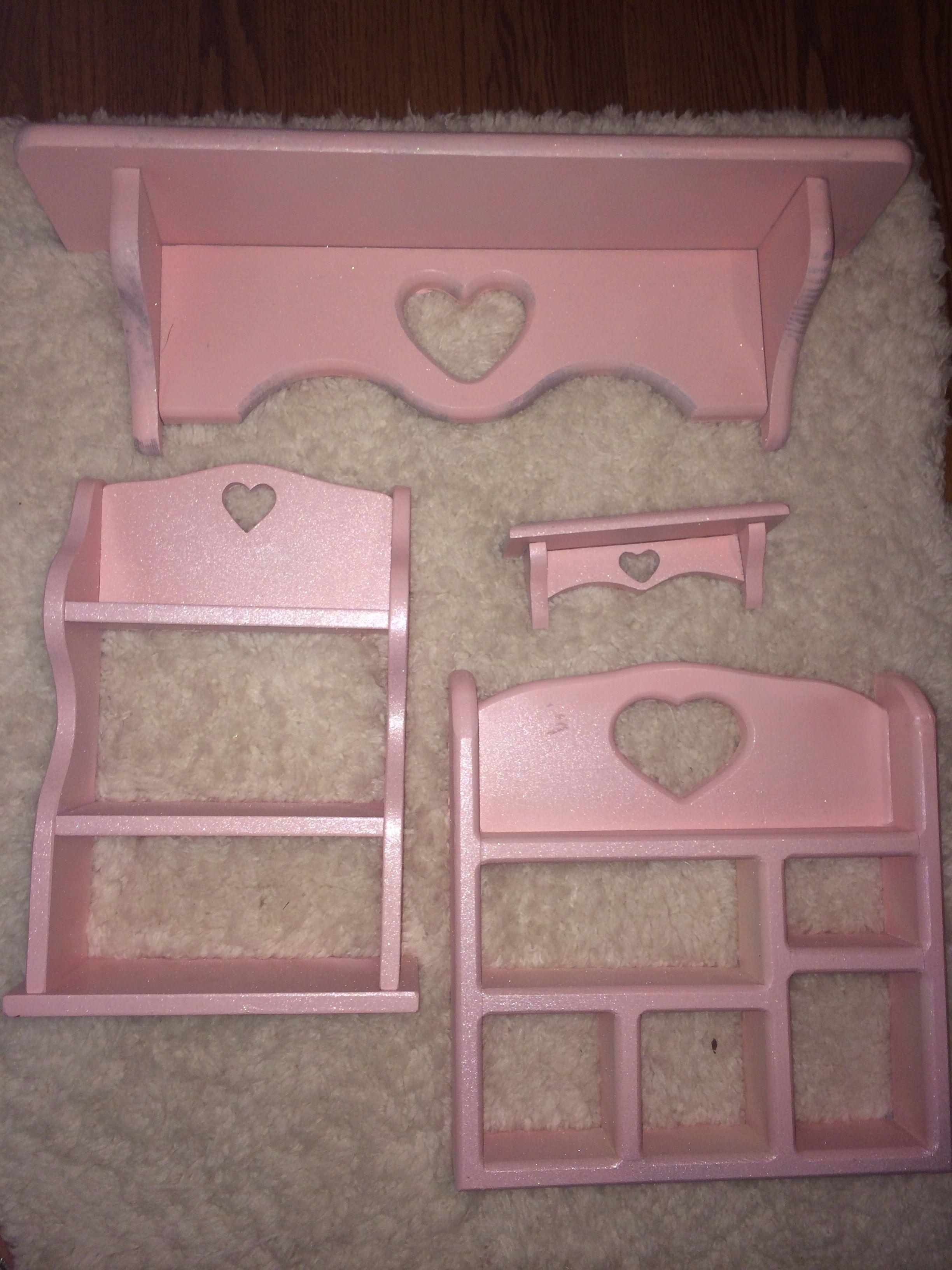 Thrift store shelves pink and glitter