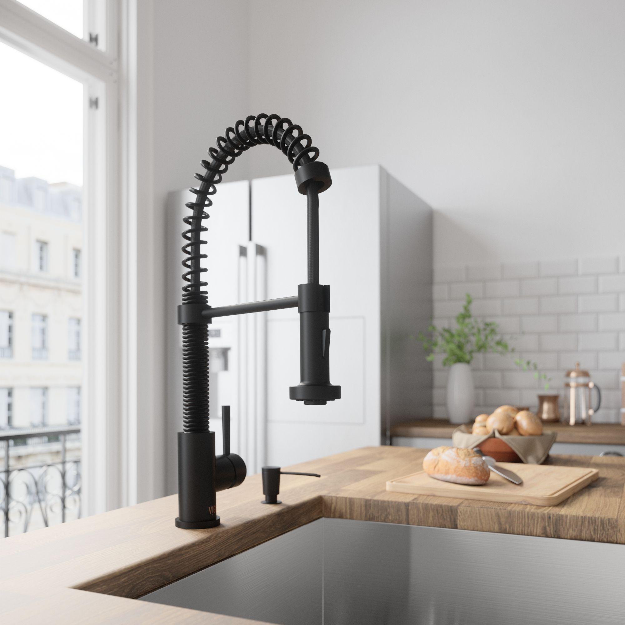 Vigo Edison Single Handle Pull Down Sprayer Kitchen Faucet In Matte Black Vg02001mb Contemporary Kitchen Black Kitchen Faucets Modern Kitchen