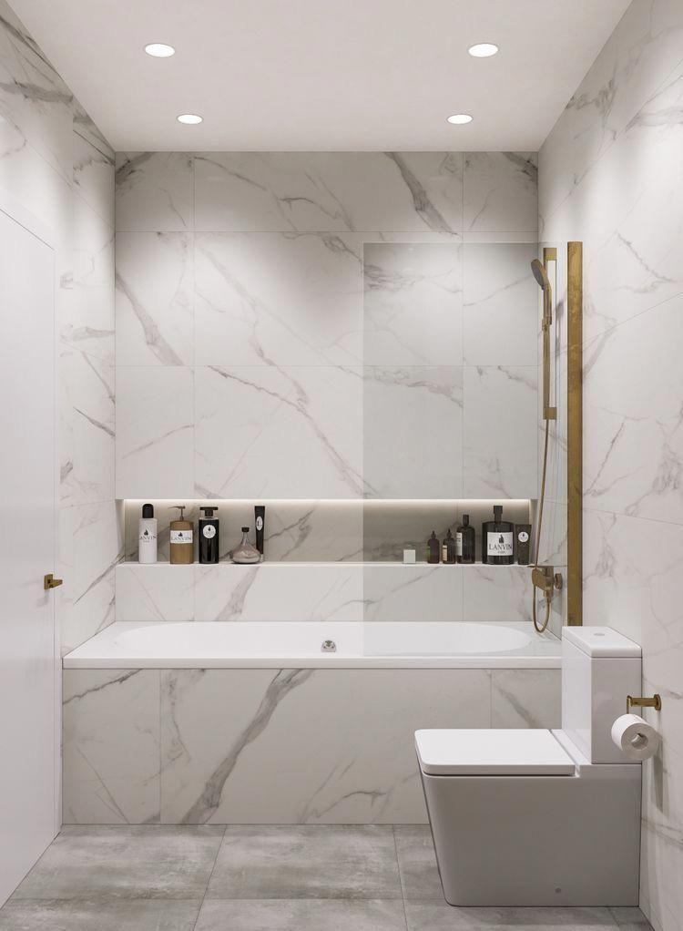 Shower Bath Set Up Marble Bathroom Set Up Modern Marble And Gold Bathroom Long Shower Niche Long Show In 2020 Bathroom Layout White Marble Bathrooms Modern Bathroom