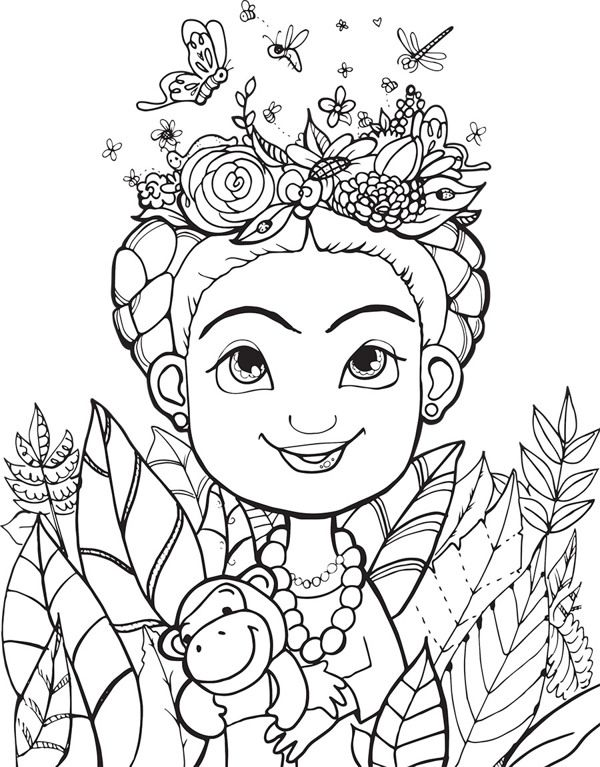 Coloring page inspired by Frida Kahlo as Springtime Fairy Frida