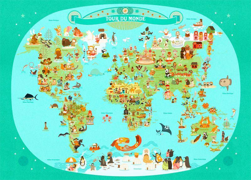 Tour Du Monde Julie Mercier Planisph 232 Re Enfant L