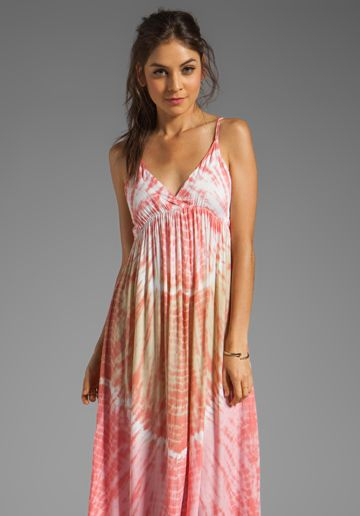 Tiare Hawaii Gracie Maxi Dress in Peach Abstract