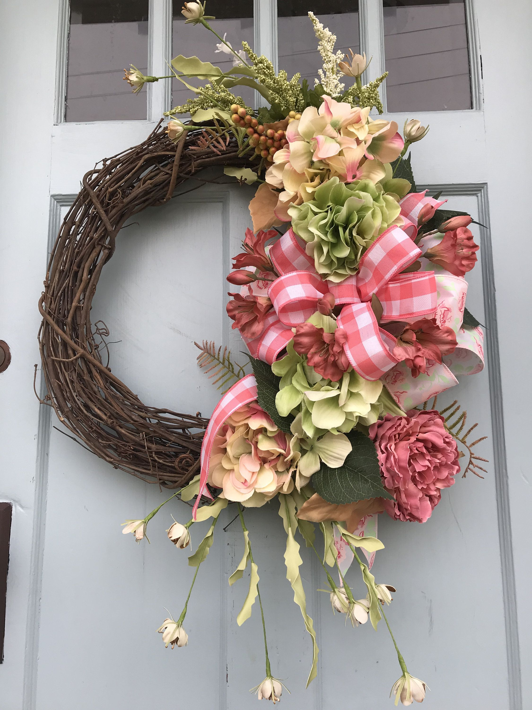 Photo of Summer Farmhouse Grapevine Wreath for Front Door, Coral Wreaths, wreaths for front door,  farmhouse wreath, Wreath with Coral Plaid Ribbon