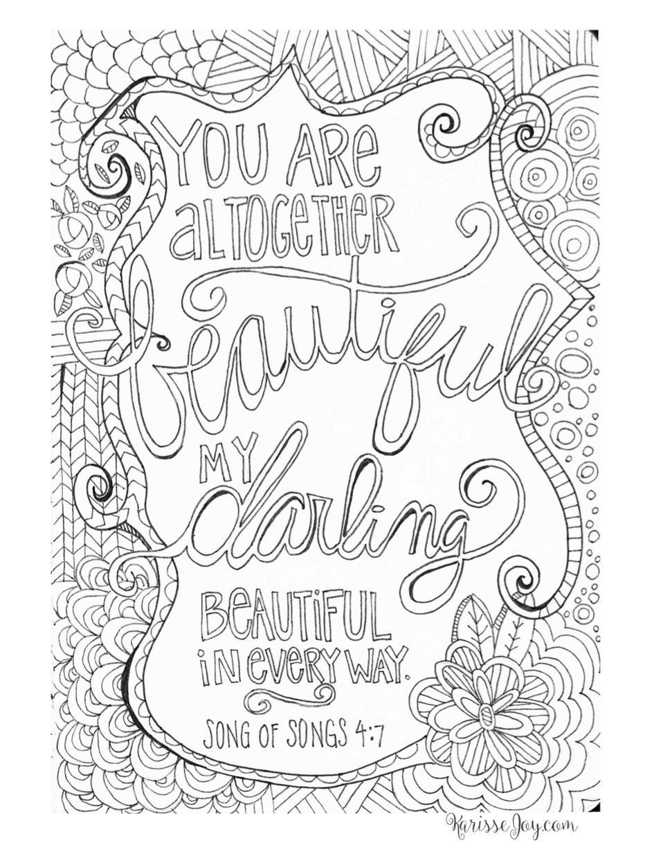 You Are Altogether Beautiful Coloring Page Words