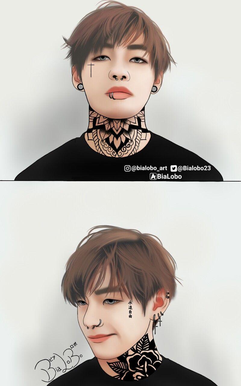 Tae And Jungkook Tattoo: V (Tattoo) BTS Fanart ByBiaLobo #v #kim #taehyung