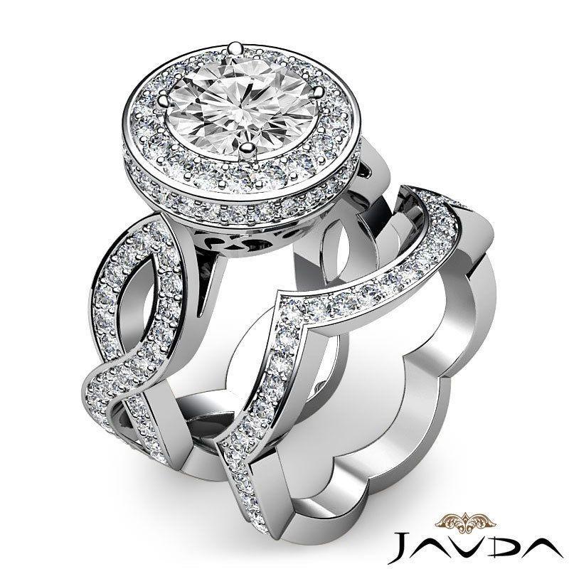 Women's Halo Round Diamond Bridal Set Engagement Ring EGL F SI1 Platinum 2 8 Ct | eBay
