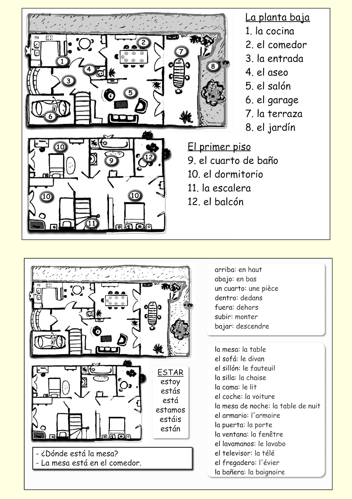 Activity vocabulary top activty only for english speaking students see http me encanta escribir blogspot com 2013 11 la casa html for color picture