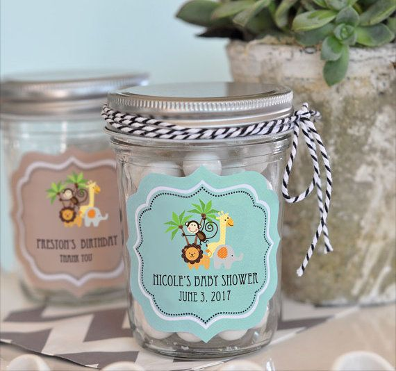 Jungle Baby Shower Favors Safari Baby Shower Favor Stickers Zoo Animal  Birthday Party Jungle Animal Baby Shower   Set Of 12 Jars