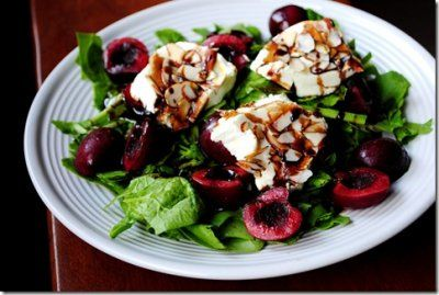 Almond-Crusted Warm Goat Cheese Salad with Cherries.  This looks amazing, I hope I remember this pin when Cherry season comes!