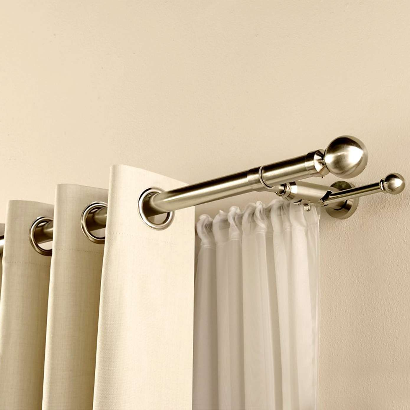 Crafted From Metal And Finished In Satin Silver This Dual Curtain Pole Includes A As Well Extendable Brackets