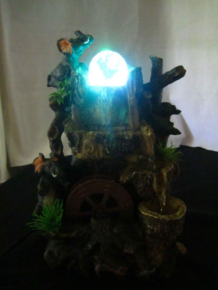 Indoor Table Fountain Elephant Water Wheel Lighted Crystal Ball ...