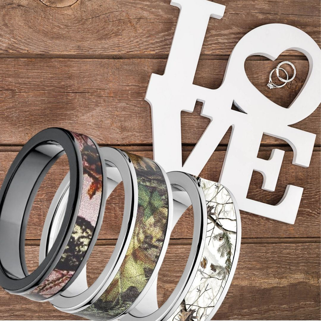 Camo Rings for Him and Her Camo wedding rings, Camo