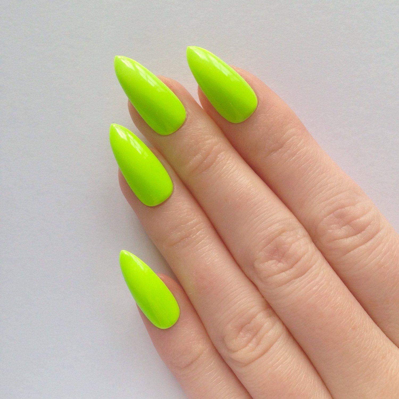 etsy Neon Green Stiletto nails, Fake nails, Stiletto nails, Press on ...