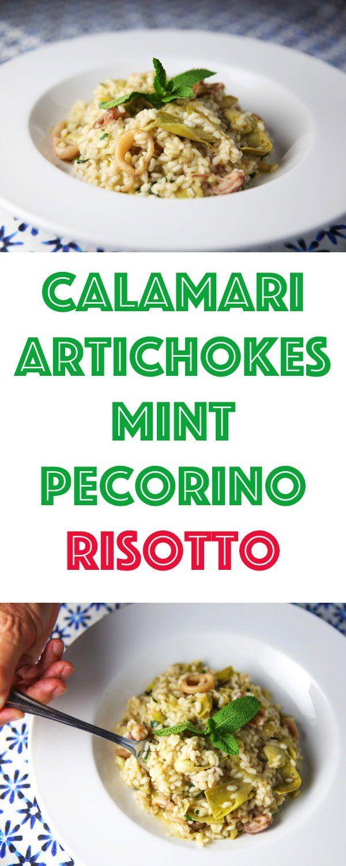 Calamari Artichokes Mint and Pecorino Risotto Recipe