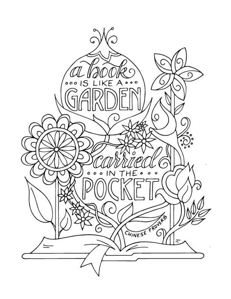 Book Garden Coloring Page Planner Bullet Journal Insert Etsy In 2021 Coloring Pages Garden Coloring Pages Coloring Book Pages