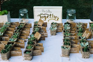Wedding favors #succulents #luggagetags Photo from Jessica