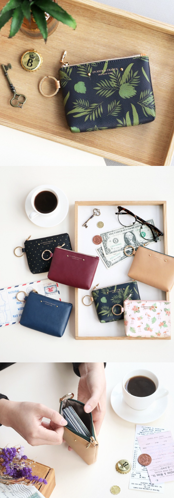 The Pochette Coin Wallet is all I need when I am leaving the house! I can carry my cards, bills, coins inside the compartment plus my keys by attaching them to the key ring. This way I can leave the house more lightly and conveniently!