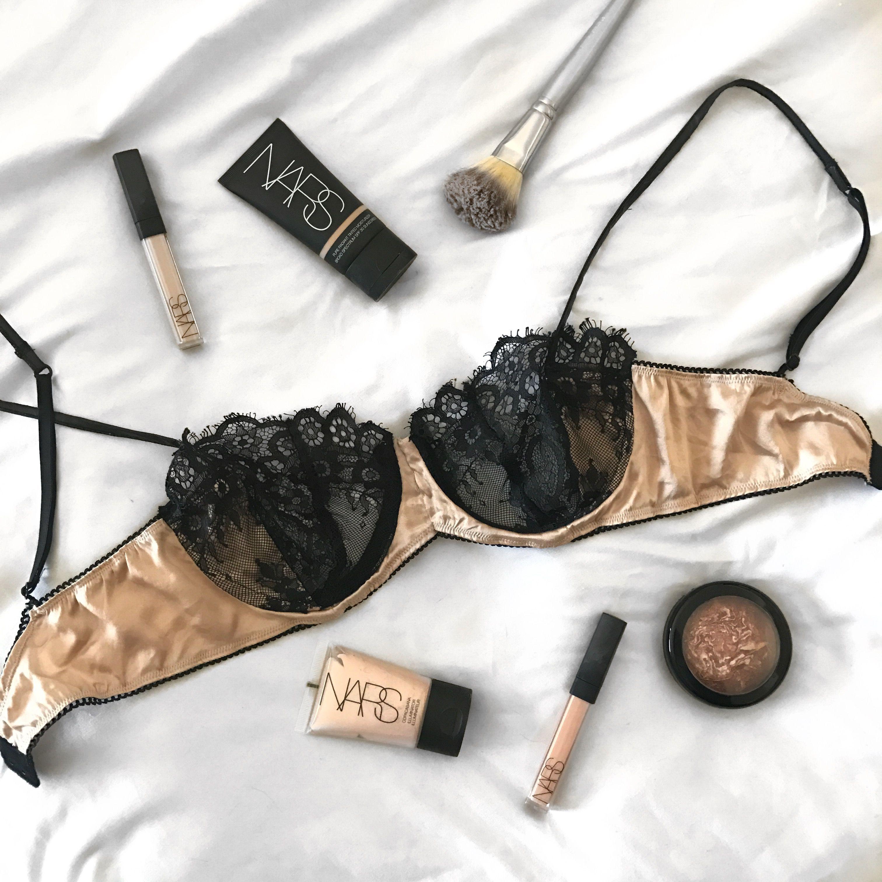 a5179b42ae Vlada black and nude lace and silk bra flatlay | Vlada Lingerie in ...