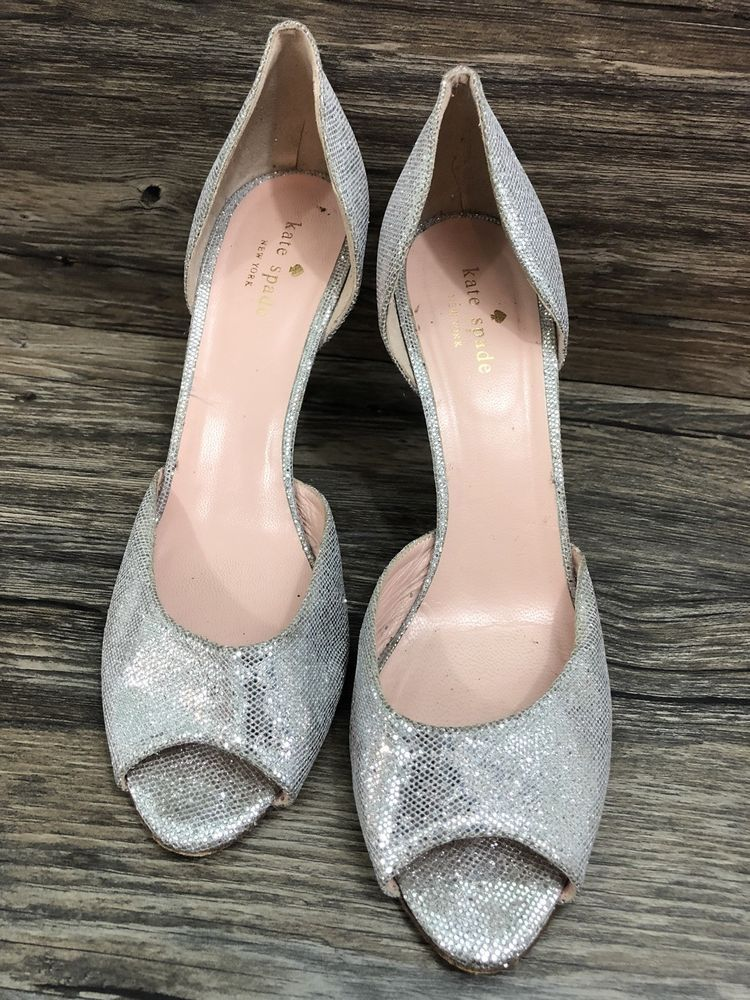 e1bf9558132 Kate Spade Heels Cissy Silver Glitter Pump Open Toes Size 9 1 2 B Womens  44A