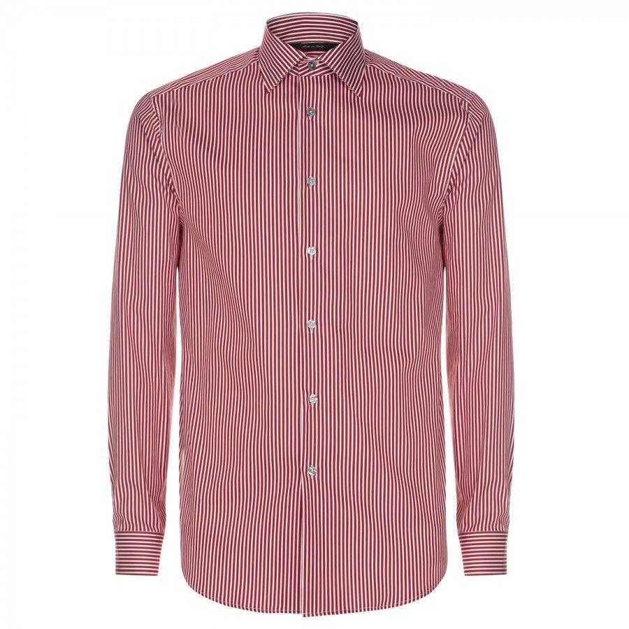 PAUL SMITH Pinstripe stretch cotton blend shirt Red