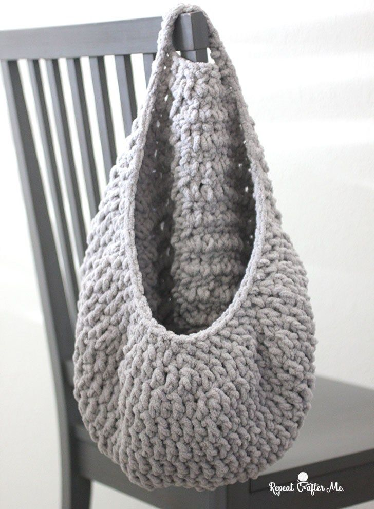 Photo of Crochet Hanging Sack Basket – Repeat Crafter Me
