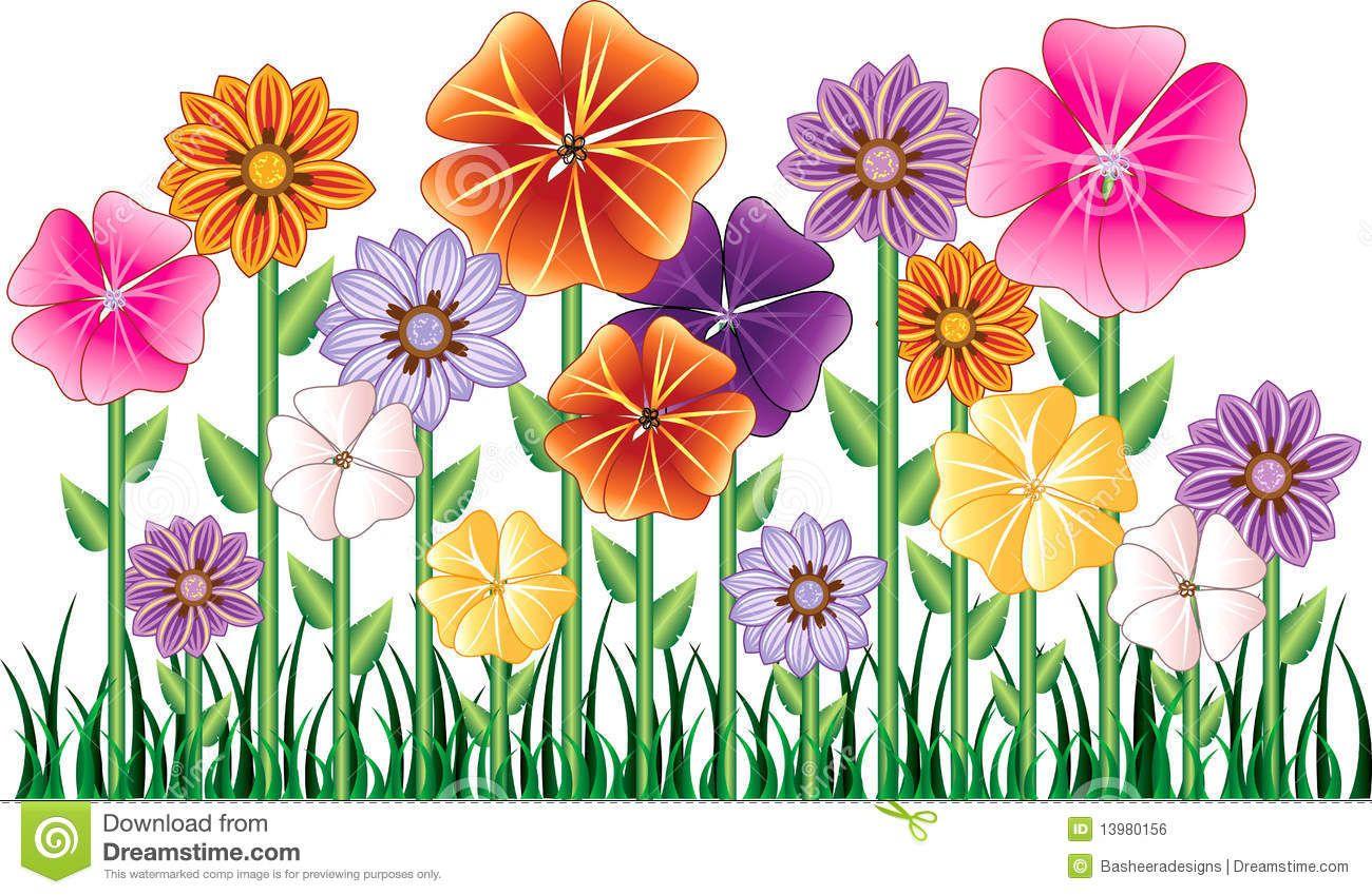 Flower garden cartoon - Vector Illustration Of A Flower Garden With Grass Description From Dreamstime Com I