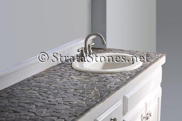 Glazed Grey Flat Mosaic Tile Tiled Countertop Bathroom Tile