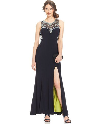 79460e39b2f Betsy   Adam Embellished Sweetheart Illusion Gown