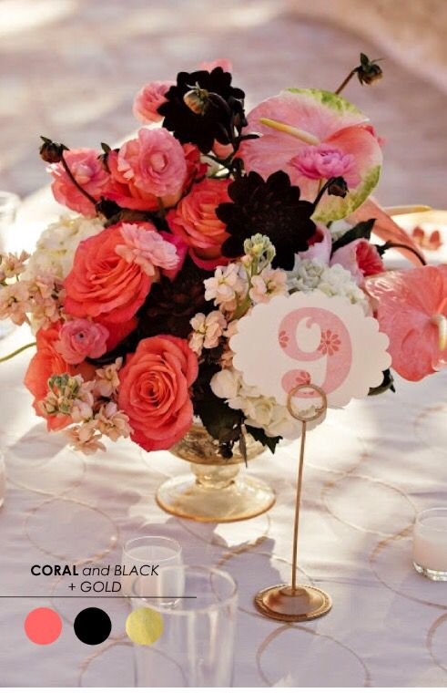 Coral, Black and Gold | Wedding: Color Palette | Pinterest | Wedding ...