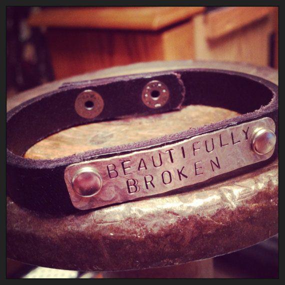 genuine leather cuff w/ handstamped tag by SoBeautifullyBroken
