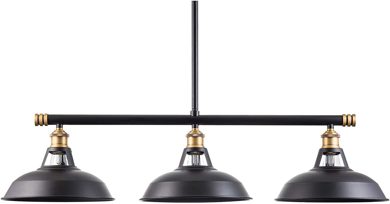 Olivera Kitchen Island Light Black W Antique Brass 3 Pendant Light With Led Bulb Ll P888 7sbk Pendant Light Kitchen Island Lighting Ceiling Pendant Lights