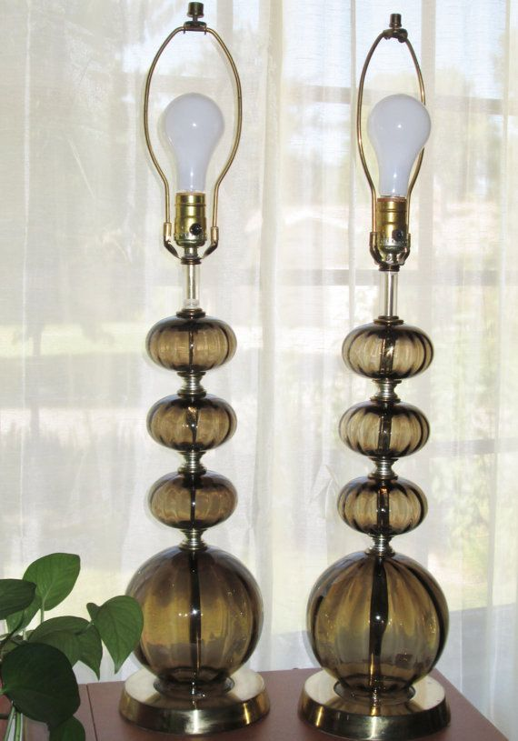 Pair Vintage Berger Stacked Ball Brown Gl Table Lamps