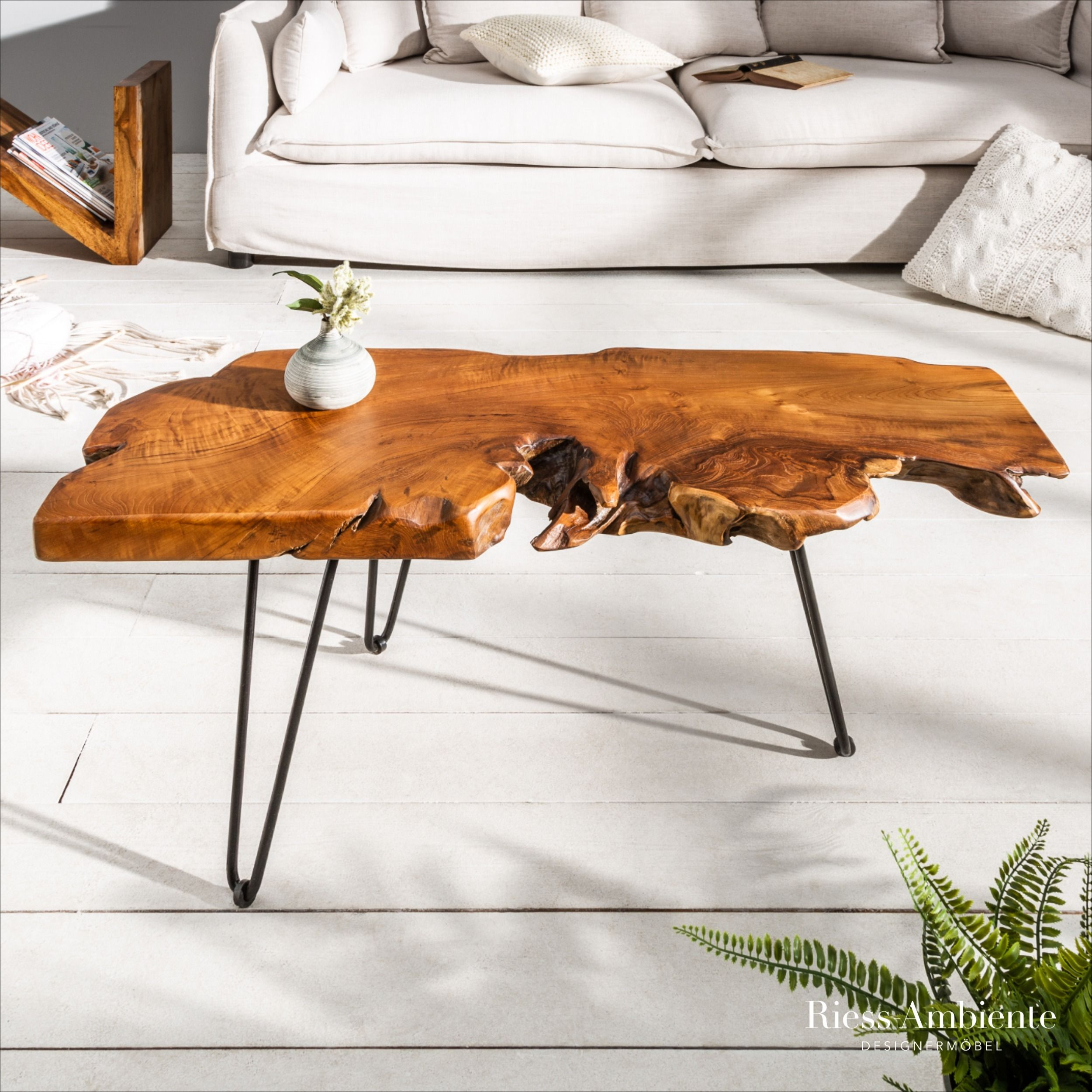 Massiver Couchtisch Wild 100cm Teak Massivholz Baumscheibe Hairpin Legs In 2020 With Images Coffee Table Wood Coffee Table Couch Table