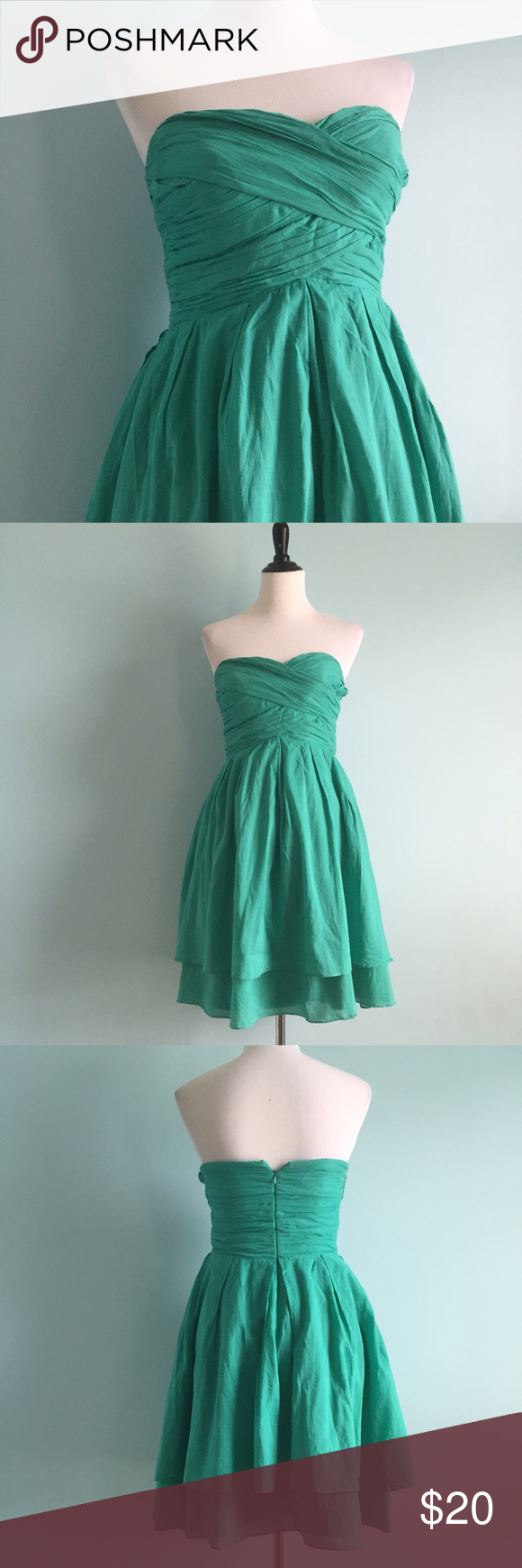 Turquoise Fit & Flare Dress Beautiful turquoise strapless dress with riches bodice and voluminous skirt. Fit & flare shape. Sweetheart neckline. Two layers of fabric on skirt. Size 8 by Jessica Simpson. Jessica Simpson Dresses Strapless