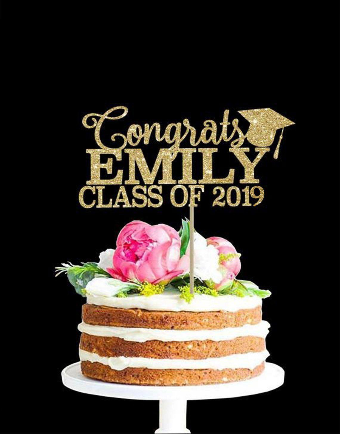 Graduation Cake Topper Custom Cake Topper Class Of 2020 Gold Cake