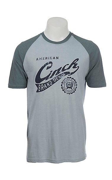 Cinch Men s Blue with Denim Brand Logo on Front Short Sleeve T-Shirt ... 3f56718ec84