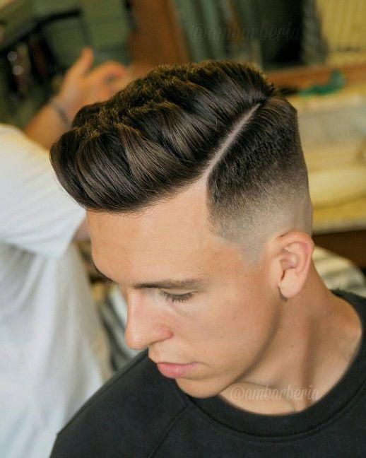 High Fade Hard Part Pompadour Haircut Fade Haircut Styles High Fade Haircut Hair Styles
