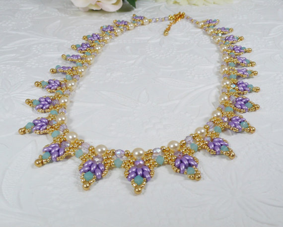 Woven Super Duo Collar Necklace Lavender by IndulgedGirl on Etsy