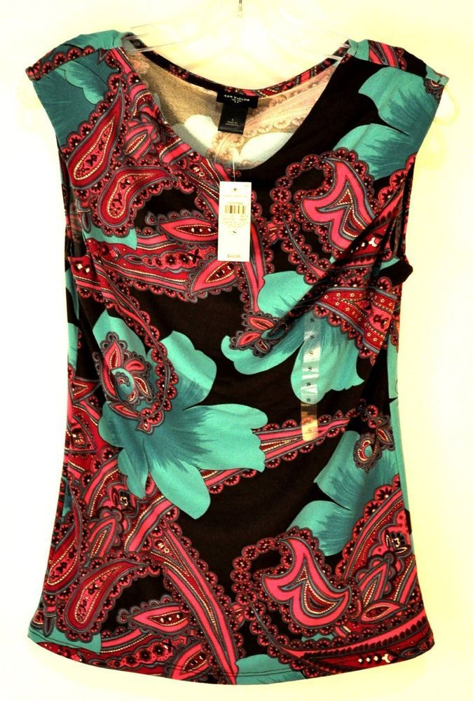 Ann Taylor Sleeveless Paisley Purple & Green Blouse Stretch Sz S NWT