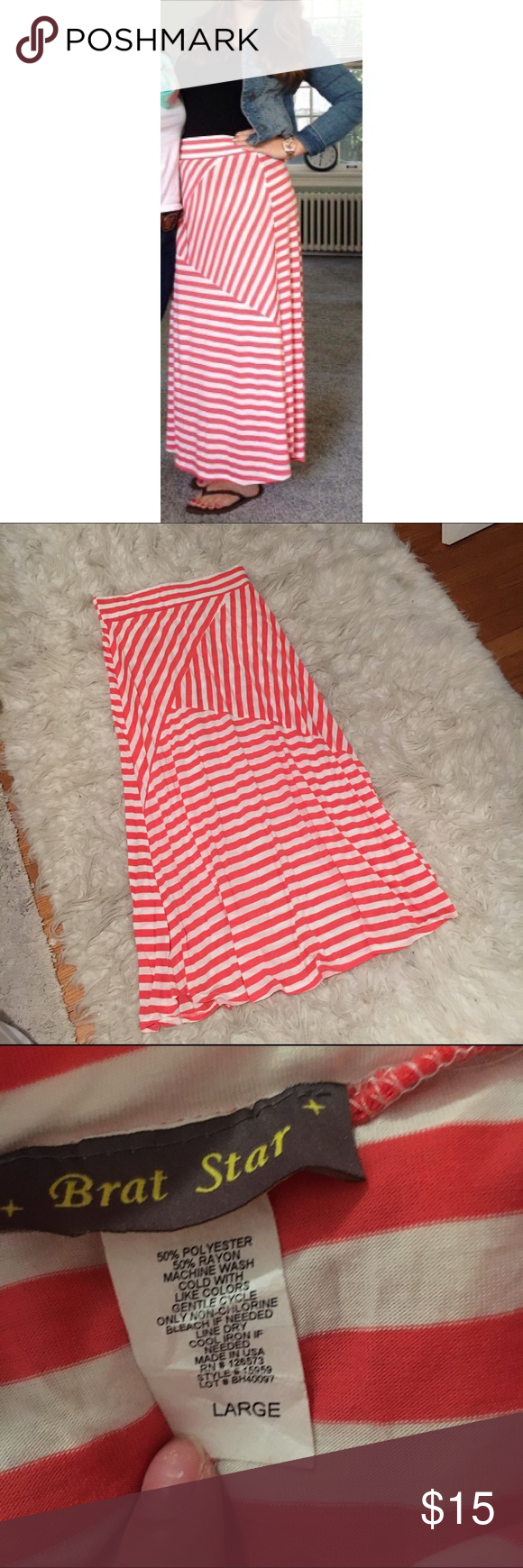 Pink & White Striped Maxi Skirt Adorable and flowy. Soft and stretchy. Perfect for the summer and only worn once. Skirts Maxi