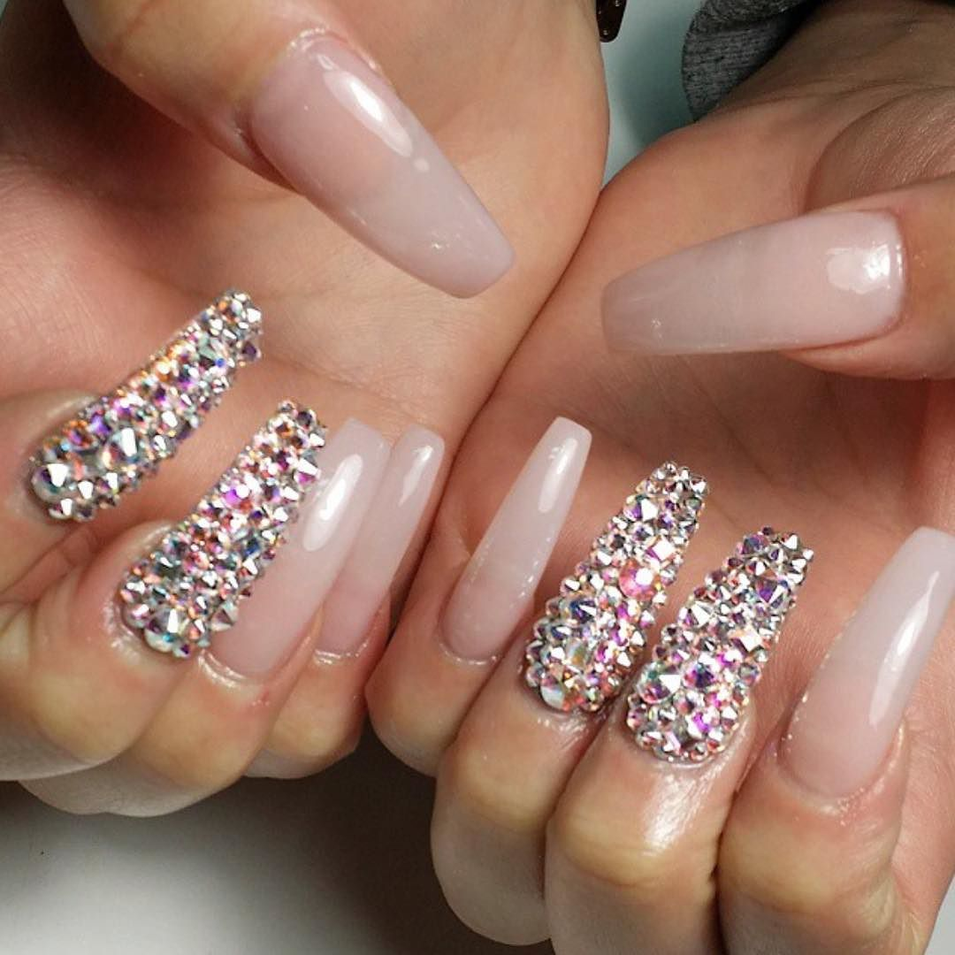 Nude nails with Swarovski crystal features. (All designs can be ...