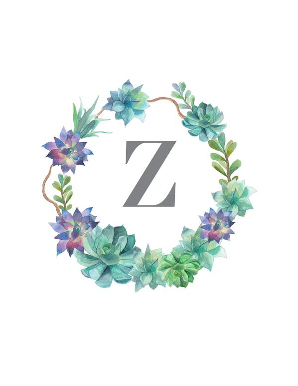 Succulent Monograms Monogram Wallpaper Floral Letters Watercolor Lettering
