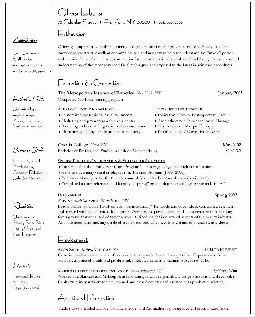 20 Entry Level Esthetician Resume in 2020 Esthetician