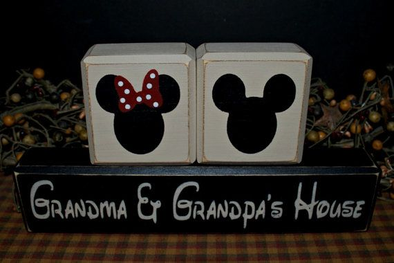 Mickey and Minnie Mouse Grandma & Grandpa's House rustic distressed gift home decor wood blocks sign by PrimitiveHodgePodge